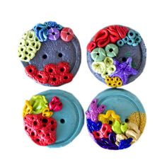 Coral Reef Buttons by TinyPips on Etsy