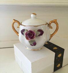 Vintage Porcelain Small Sugar Bowl w/ Purple Rose Applied, Gold Handles, Japan, Doll Set