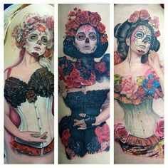 The basic purpose of the Day of the Dead Tattoos is to commemorate the loved ones of the bearer, who are no longer in this world. - Part 6 Pin Up Tattoos, Love Tattoos, Sexy Tattoos, Beautiful Tattoos, Amazing Tattoos, Beautiful Body, Crazy Tattoos, Interesting Tattoos, Amazing Body