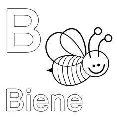 Ausmalbild Buchstaben lernen: Kostenlose Malvorlage: B wie Biene kostenlos ausdrucken