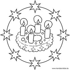 Advent wreath mandala coloring page - Advent - # Mandala Coloring Pages, Colouring Pages, Coloring Sheets, Coloring Books, Little Christmas, Christmas Colors, Christmas Wreaths, Fun Crafts, Crafts For Kids