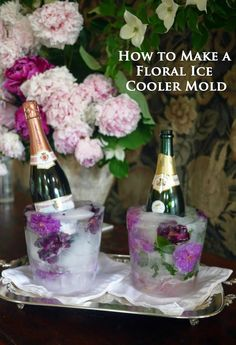 Ice cooler molds set with roses keep Champagne, Wine and Spirits chillin' in fashion. Not just for winter soirees, floral Ice Bottle Chiller Molds are just as b Bubbly Bar, Champagne Bar, Mimosa Bar, Champagne Ice Bucket, Champagne Cooler, Champagne Popsicles, Bucket Cooler, Ice Cooler, Party Drinks
