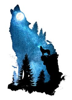 Displate Poster The Howling Wind designstudio #dverissimo #wolf #dog #howling #wind #howl #night #space #stars #moon #moonlight #silhouette #animal #animalia #forest #wild #rock #cliff #digital #nature #illustration #photo #sky #landscape