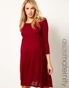 ASOS Maternity Knitted Midi Dress With Keyhole Back