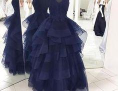 2017 Long Prom Dress, Navy Blue Long Prom Dress, Formal Evening Dress on Luulla