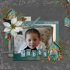 """Poki has used one of the Glitter Edges on her layout. I love the sparkle it brings to her page.  She did a great job of creating the beveled """"blocks"""" on which to place her page title!  #digitalscrapbooking #SnickerdoodleDesigns #theStudio"""