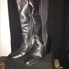 Franco Fortini boots Calf length leather boots Franco Fortini Shoes Heeled Boots