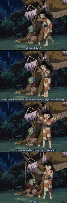 Jaken with Rin (who is my absolute favorite character) - screenshots from InuYasha
