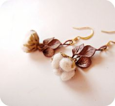 Cotton Field  Earrings with Raw brass leaves by jewelera on Etsy, $36.00