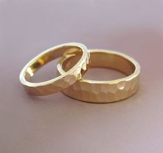 14k Yellow Gold Wedding Ring Set of Two - Hand Hammered Recycled Gold - 3 and 5 mm