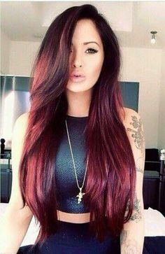 This hair color and lenght. Maroon.