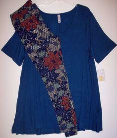 fe389fa3e0f7 NEW LuLaRoe Outfit 3XL Perfect T Micro Stripe Blue & TC Floral Leggings 3X