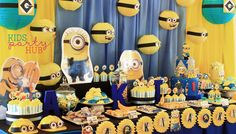 Cute and adorable Minions is the party theme of Aki's Birthday Party. Dessert and Candy Buffet Table decorations were creatively made from paper lanterns and kids construction hats. Minion Candy, Candy Buffet Tables, Dessert Table, Yellow Birthday Parties, Construction For Kids, Paper Lanterns, Party Themes, Party Ideas, Minions