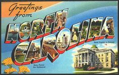 North Carolina 1950s Large Letter Greetings from North Carolina State Vintage Postcard