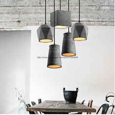 Modern Polyhedron Grey Cement Pendant Lights Lamps Dining Room Ceiling Fixtures Lighting arana de luces cemento
