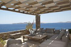 Johns Retreat is a 7 bedroom villa in Saint John and is a member property of Diles Villas and vacation rentals in Mykonos island. Mykonos Villas, Mykonos Island, Villa With Private Pool, St John's, Vacation Villas, Hospitality, Pergola, Outdoor Structures, Patio