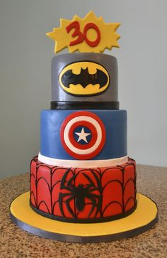 Bam! Pow! Check out this awesome super hero birthday cake!