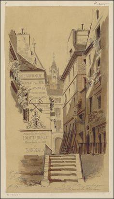 Watercolour & pen sketch of 19th century Parisian street vista with stairwayTitle: La rue St Bon, escalier qui conduit à la rue de la Verrerie Designed by: Jules-Adolphe Chauvet & commercial buildings.