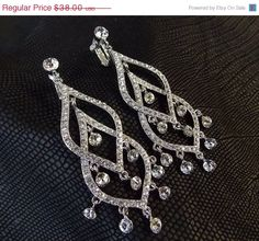 30% Off Holiday Sale 3.25 Long Clip On Earrings  by dalfiya $26.60