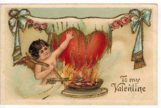 Vintage Valentines Day Postcard Cupid Warms Heart PM 1907 Emb DB Gold Gilt | eBay