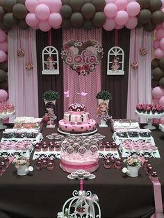festa jolie marrom e rosa