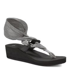 Look at this Sanuk Silver Metallic Yoga Slinglet Wedge - Women on #zulily today!