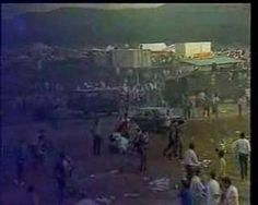 Airshow disaster at the Flugtag 88 event in Rammstein Air Base, W. Germany, August 1988, as Italian aerobatic stunt team Frecce Tricolori experiences a stunt timing miscalculation, resulting in two planes and their fiery crash of debris hurling into the spectating crowd - killing 71 German citizens.   http://rocketjones.mu.nu/archives/cat_flugtag_88.php