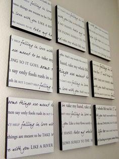 Turn our first dance song lyrics into wall art