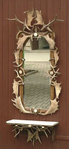 gorgeous antler wall mirror with rack, ca. 1900