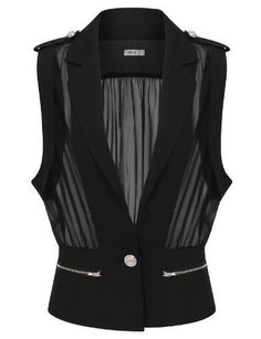 Womens Fashionable One Button Vests with See Through style I don't like buying black clothes. But I do love wearing see through clothing ; Look Fashion, Fashion Outfits, Womens Fashion, Fashion Design, Diy Clothes, Black Clothes, Ideias Fashion, Cool Outfits, Jackets For Women