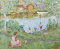 Oljemålning, Wille Sjöholm, Strand, 59x73. Metropol - Auktioner i Stockholm och på nätauktion med konst och inredning - 2509