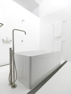 Ian Moores Architects | Strelein Warehouse, white bathroom ,free standing tub, brushed finish