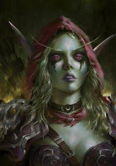 Sylvanas Windrunner by Indiron banshee queen World of Warcraft elf fighter… World Of Warcraft, Warcraft Art, Lady Sylvanas, Banshee Queen, Sylvanas Windrunner, Elfa, Dark Elf, Wow Art, Shadowrun