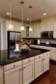 Ideas Kitchen Design Black Granite Dark Countertops For 2019 New Kitchen Cabinets, Painting Kitchen Cabinets, Kitchen Paint, Kitchen Flooring, Kitchen Backsplash, Backsplash Ideas, Kitchen Wood, Bathroom Cabinets, Granite Backsplash