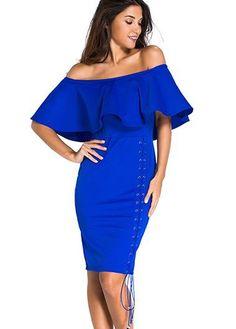 Royal Blue Ruffle Overlay Off the Shoulder Sheath Dress
