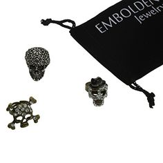 Trendy Punk Studded Crystals Flowers Skull Rings Set  Unisex *** Read more reviews of the product by visiting the link on the image.