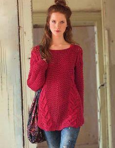 e16a394044be Красный пуловер в стиле оверсайз Вязаная Крючком Одежда, Бесплатные Узоры  Для Вязания, Вязание,