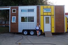 This is Emily's tiny house on wheels. It's called the Little Sunshine and the exterior was built by Trekker Trailers in Leesburg, Florida while Emily and her partner, Clark, finished th…