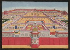 Untitled - caption: 'A bird's-eye view of the Red Fort at Delhi from the east, showing an emperor, probably Shah Alam entering the Diwan-i-Khas on right. The Rang Mahal is on the left, the Khwabgah Jharoka in the centre and the Pearl Mosque on Mughal Architecture, Agra Fort, Shah Alam, Mughal Empire, Birds Eye View, British Library, Mosque, Fine Art America, Taj Mahal