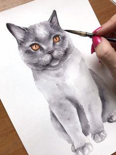British Shorthair Blue Cat ACEO Stampa Arancione EYES By i garmashova