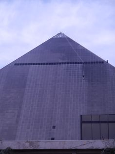 Cleaning the Luxor pyramid and changing lights.