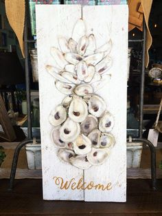 Welcome Oyster Pineapple – Blu Cotton Seashell Art, Seashell Crafts, Beach Crafts, Oyster Shell Crafts, Oyster Shells, Oyster Diy, Fall Crafts, Christmas Crafts, Diy Crafts