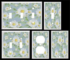 WHITE DAISY AND DOTS LIGHT SWITCH COVER PLATE  HOME DECOR  YOU PICK  SIZE #Leviton