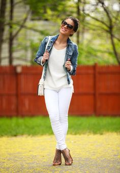 "Camila Coelhos' OOTD ""White on White + Denim!"""