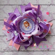 Sofia The First Stacked Boutique Hair Bow by PixiePretties on Etsy, $9.99