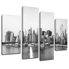Msc317 #black white new york city canvas wall art #multi #panel split picture pri, View more on the LINK: http://www.zeppy.io/product/gb/2/281665378043/
