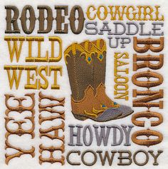 Embroidered Western Rodeo Square Quilt Block by NewDayEmbroidery on Etsy