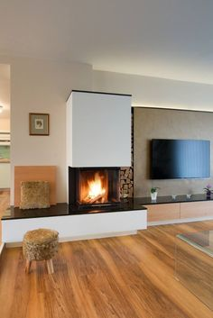 Fireplaces Panorama by Brunner Home Fireplace, Modern Fireplace, Living Room With Fireplace, Fireplace Design, Open Plan Kitchen Living Room, Living Room Tv, Home And Living, Living Room Interior, Home Decor Furniture