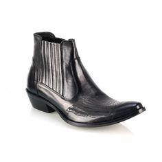 Pánske kožené čižmy čierne - fashionday.eu