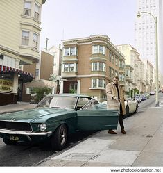 """Post with 24 votes and 1243 views. Tagged with oldschoolcool, cinema, colorization, steve mcqueen; Steve McQueen during filming of """"Bullitt"""" in 1968 (my colorization) Mustang 1967, Mustang Bullitt, Mustang Fastback, Mustang Cars, Ford Mustangs, Steve Mcqueen Cars, Steve Mcqueen Bullitt, Steve Mcqueen Mustang, Steeve Mcqueen"""